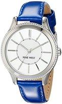 Nine West Women's NW/1703SVBL Silver-Tone Case Blue Strap Watch