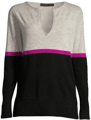 Raffi Stripe Split-V Cashmere Pullover