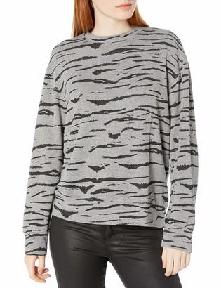 Monrow Women's Dark Heather Tiger Boyfriend Sweatshirt Small