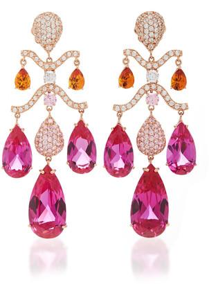 Anabela Chan 18K Rose Gold Fuchsia Chandelier Earrings