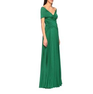 Elisabetta Franchi Long Dress In Lurex Fabric With Drapery