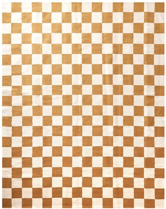 Jonathan Adler Camel Checkerboard Reversible Peruvian Flat Weave Rug