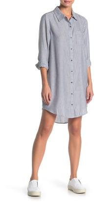 Susina Stripe Button Front Shirt Dress (Regular & Petite)