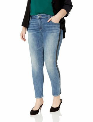 Lucky Brand Women's Plus Size MID Rise Ginger Skinny Jean in Marian with Stripe 24W