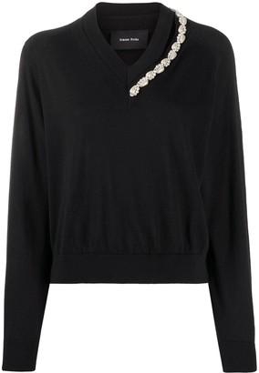 Simone Rocha pearl-embellished V-neck jumper