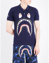 A Bathing Ape Shark-print Cotton-piqué Polo Shirt