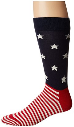 Happy Socks Star Stripe Socks (Blue/Red/White) Men's Crew Cut Socks Shoes