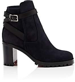 Christian Louboutin Women's Trapeurdekoi Suede Ankle Boots-Navy