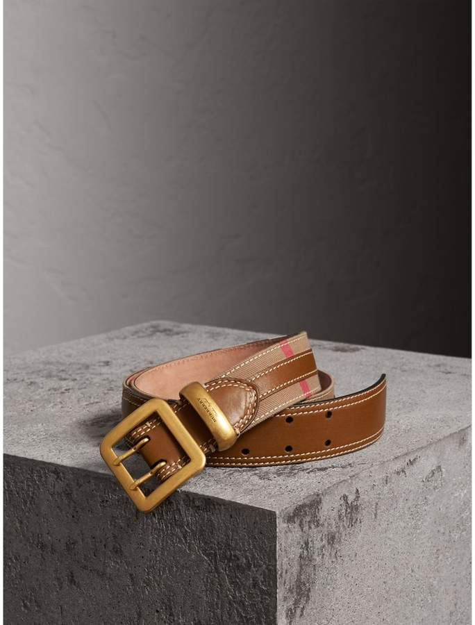 Burberry Topstitched House Check and Leather Belt , Size: 75, Brown