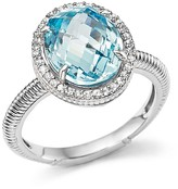 Judith Ripka Oval Pavé Ring with White Sapphire and Sky Blue Crystal