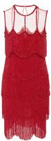 Naeem Khan Sleeveless Flapper Fringe Mesh Neckline Mini Dress
