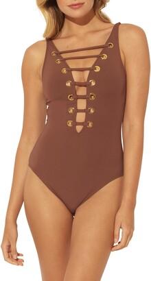 MIO BLEU by Rod Beattie Hole in One Plunge One-Piece Swimsuit