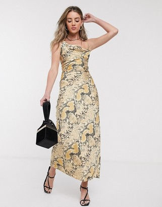 Jagger And Stone Jagger & Stone maxi slip dress with cowl neck in snake print satin