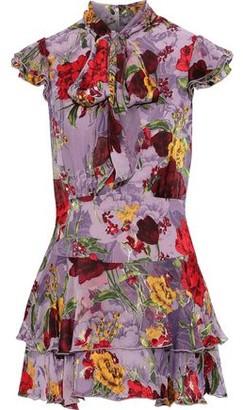 Alice + Olivia Lashay Tiered Printed Burnout Chiffon Mini Dress