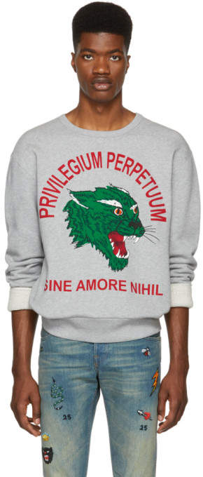 Gucci Grey Privilegium Perfectuum Tiger Sweatshirt