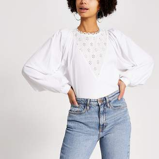 River Island White broderie long batwing sleeve T-shirt