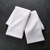 Crate & Barrel Set of 2 Waffle-Terry White Dish Towels