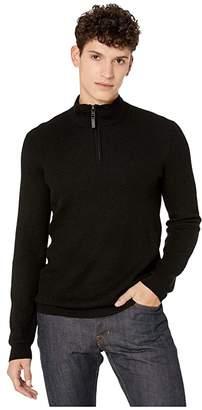 Ted Baker Tunnel Long Sleeve Textured Funnel Neck (Black) Men's Clothing