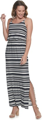 Nina Leonard Women's Striped Halter Neck Spaghetti Strap Maxi Dress