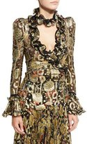 Roberto Cavalli Metallic-Embroidered Long-Sleeve Blouse, Gold