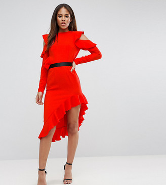Asos TALL Cold Shoulder Crepe Asymmetric Dress