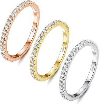 Milacolato 3Pcs Sterling Silver Round-Cut Cubic Zirconia Stackable Ring 14K Gold Plated Eternity Bands for Women
