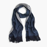 J.Crew Silk scarf in polka dot and stripe