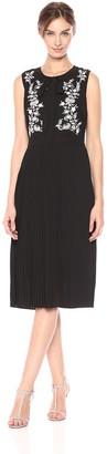 Nanette Lepore Nanette Women's Slvls Dress W/Embr Bodice & Pleat Skirt