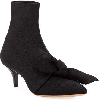 Loeffler Randall Kassidy Stretch Kitten-Heel Booties with Bow