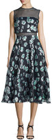 Lela Rose Floral-Print Mesh-Inset Midi Dress, Green
