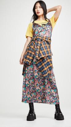 R 13 Long Slip Dress with Side Stripe