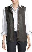 Lafayette 148 New York Kaelyn Leather Vest w/ Tech Cloth Back
