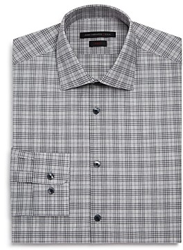 John Varvatos Melange-Plaid Slim Fit Dress Shirt