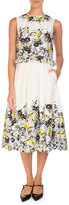 Erdem Muriel Sleeveless Floral Midi Dress, Yellow/Blue
