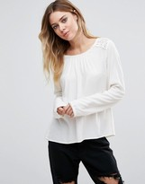 Vila Long Sleeve Blouse With Crochet Panel