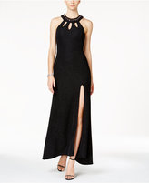 Betsy & Adam Petite Embellished Keyhole Glitter Gown