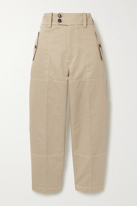 Marni Cropped Cotton And Linen-blend Drill Straight-leg Pants - Beige