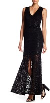 Marina Sequined Lace Keyhole Gown