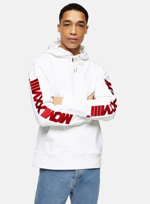 Topman White Embroidered Sleeve Hoodie