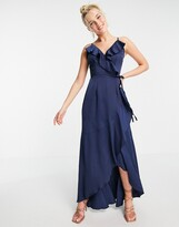 Thumbnail for your product : Little Mistress ruffle wrap midaxi satin dress in navy