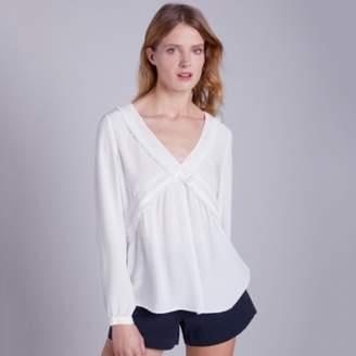 The White Company V-Neck Lace Insert Blouse , Ivory, 16