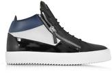 Giuseppe Zanotti Kriss Mid-Top Black and Blue Leather Men's Sneaker