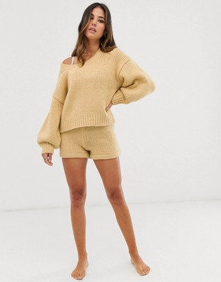 Zulu & Zephyr high waist knitted beach short in oatmeal