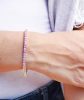 Golden Moon Women's Bracelets Pink - Pink Cubic Zirconia & Silvertone October Tennis Bracelet