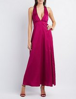 Charlotte Russe Asymmetrical Slit Plunging Maxi Dress