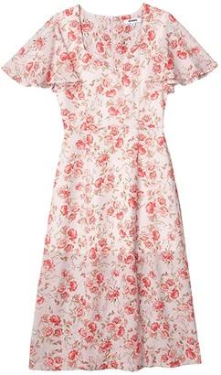 BB Dakota Endless Love Fairy Rose Printed CDC Midi Dress (Ash Rose) Women's Clothing