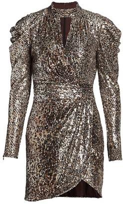 Jonathan Simkhai Mallory Sequined Long Puff-Sleeve Mini Dress