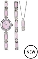 Limit Silver Tone With Pink Mother Of Pearl Dial Ladies Watch With Matching Bracelet And Pendant.