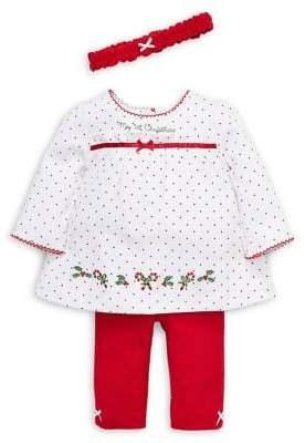 Little Me Baby Girl's Holiday 3-Piece Cotton Dress, Leggings & Headband Set