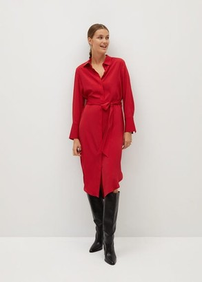 MANGO Bow shirt dress red - 2 - Women